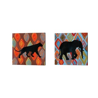 Farida Zaman 'African Animal A' Canvas Art (Set of 2)
