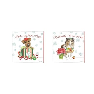 Beth Grove 'Holiday Paws A' Canvas Art (Set of 2)