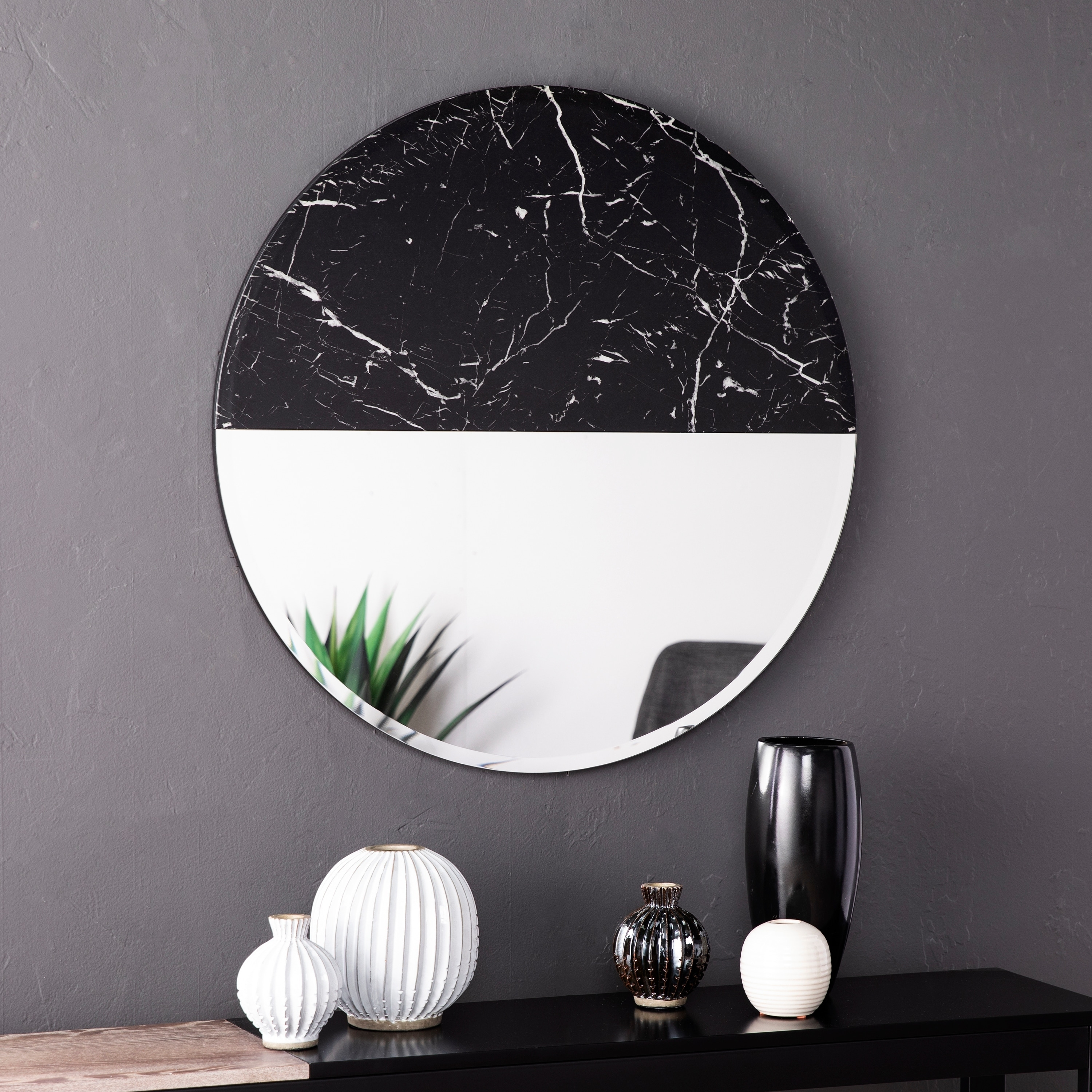 Silver Orchid Kelley Round Decorative Wall Mirror Black