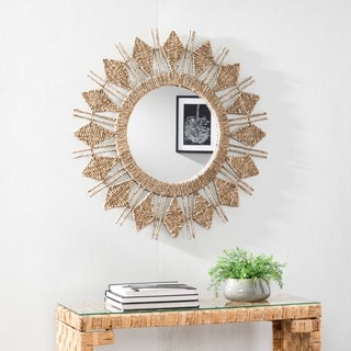 The Curated Nomad Ursa Woven Oversized Sunburst Decorative Wall Mirror - Natural
