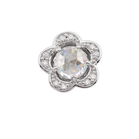 Sterling Silver April Birthstone Flower White Cubic Zirconia Charm