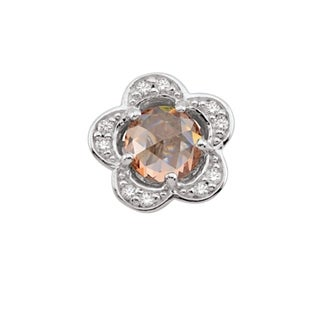 Sterling Silver November Birthstone Flower Yellow Cubic Zirconia Charm
