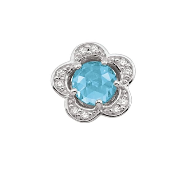 0256d102c Shop Sterling Silver March Birthstone Flower Blue Cubic Zirconia Charm - On  Sale - Free Shipping Today - Overstock - 25583280