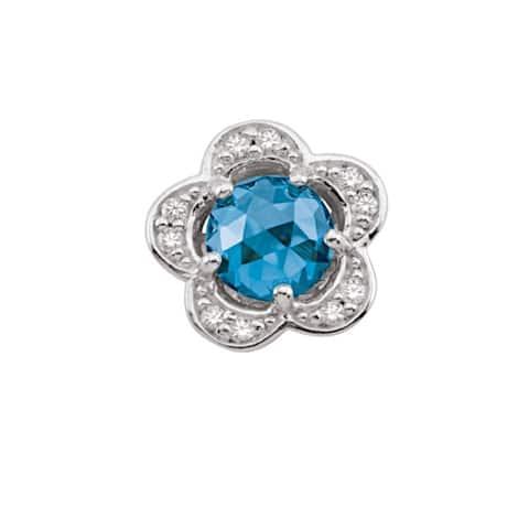 Sterling Silver December Birthstone Flower Blue Cubic Zirconia Charm