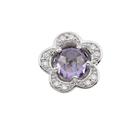Sterling Silver June Birthstone Flower Purple Cubic Zirconia Charm
