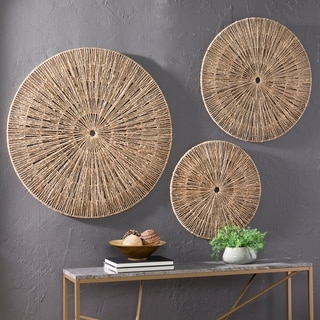 The Curated Nomad Terraza Woven Seagrass Wall Decor (Set of 3)
