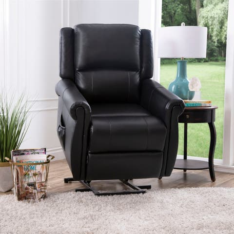 Abbyson Marco Black Leather Power Massage Recliner