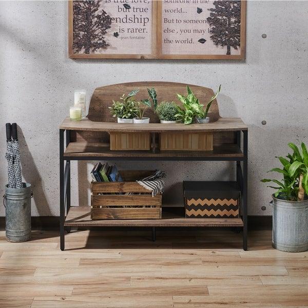 Furniture of America Hildebrand Reclaimed Oak Plant Stand