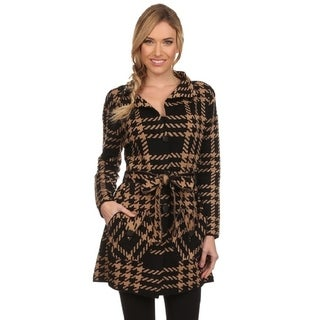 High Secret Women's Black/Khaki Checkered Pocketed Coat Cardigan