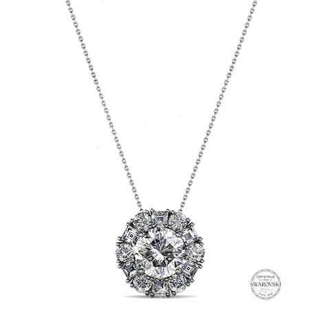 Crystal Floral Solitaire Pendant Necklace in Rhodium Plating, 16 inch