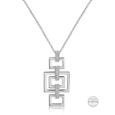 Precious Metal-Plated Silver-tone Crystal Remix Link Pendant Necklace