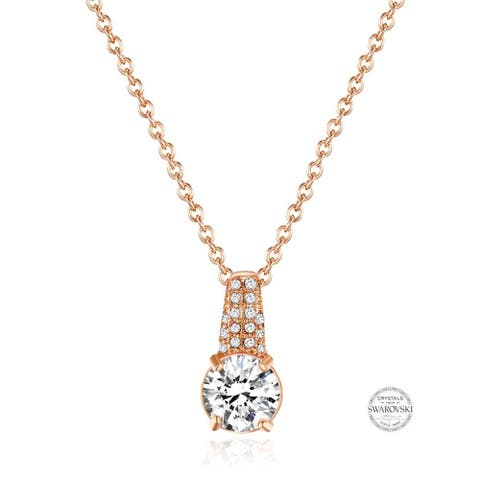 Crystal Pave Round Pendant Necklace in Rose Gold Plating, 16 inch