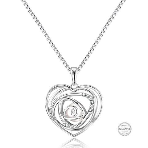 Crystal Pearl Heart Long Necklace in Rhodium Plating, 33 Inch