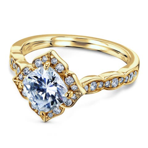 Annello by Kobelli 14k Gold 1 1/3 CTW Cushion Moissanite and Diamond Floral Halo Engagement Ring