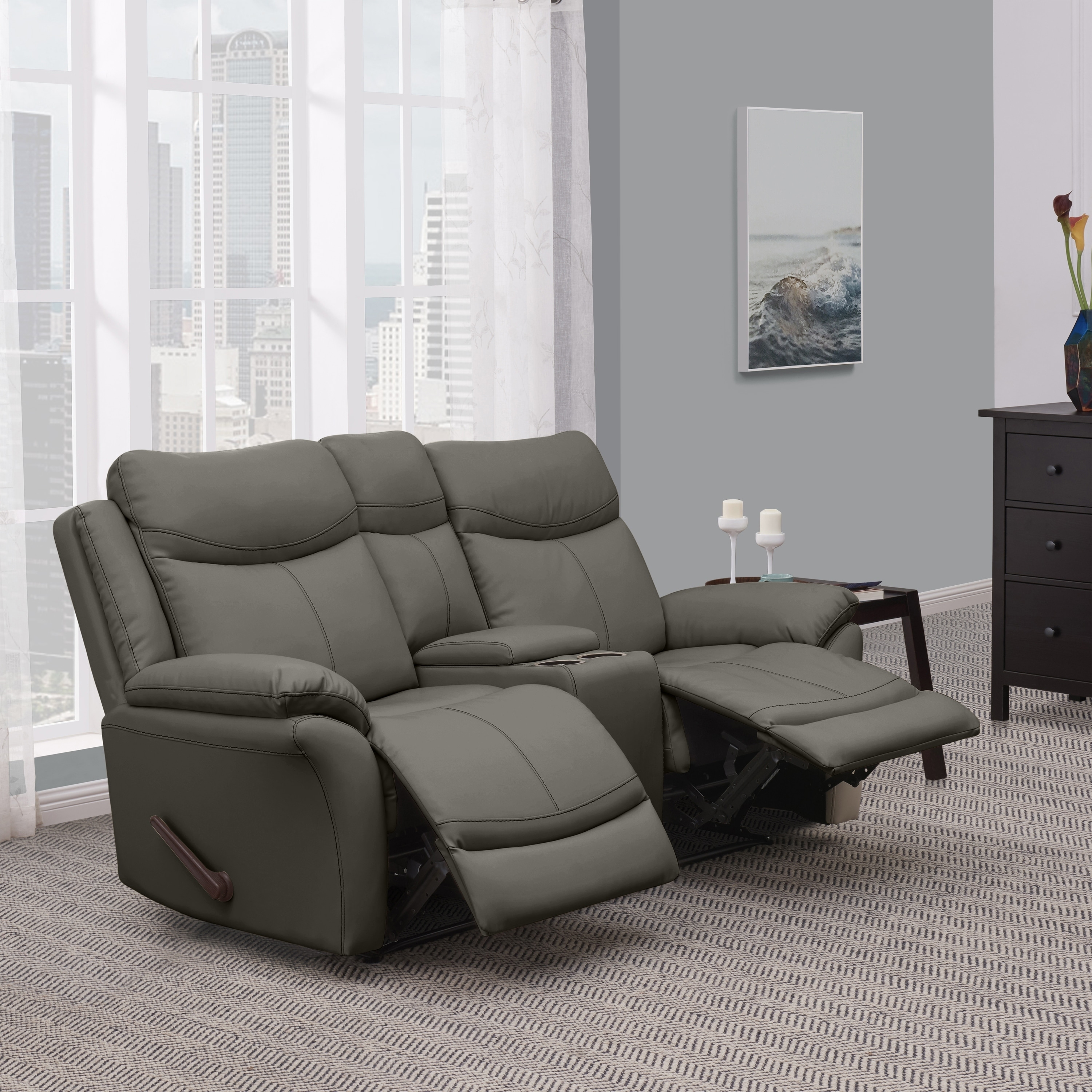Picture of: Copper Grove Peqin 2 Seat Faux Leather Recliner Loveseat With Power Storage Console On Sale Overstock 25585200