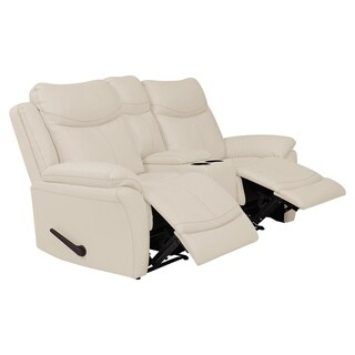ProLounger 2 Seat Faux Leather Recliner Loveseat with Power Storage Console