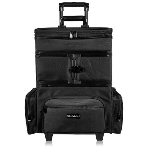 SHANY Large Travel Makeup Trolley Storage Case with Multi Compartments - BLACK