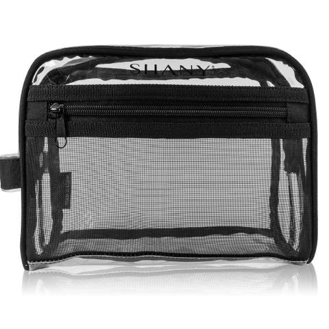 SHANY Clear Toiletry Makeup Bag and Nontoxic Travel Organizer  Black Mesh
