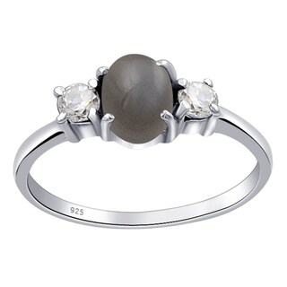 Sterling Silver 1.44 Carat Grey Moonstone & Cubic Zirconia Engagement Ring