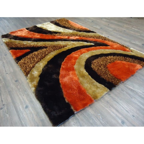 "Brown and Orange 8x11 Area Rug - 7'6"" x 10'3"""