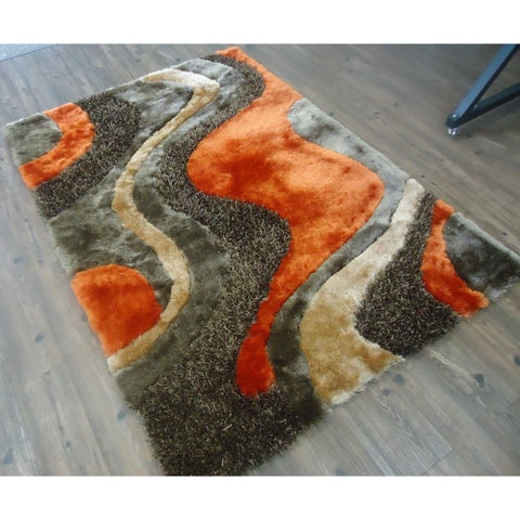 "Orange and Brown 8x11 Area Rug - 7'6"" x 10'3"""