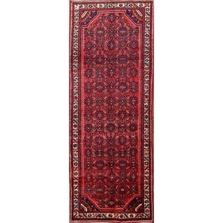 "Classical Hamedan Hand Knotted Wool Persian Rug - 10'1"" x 3'9"" runner"