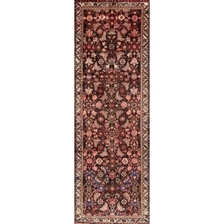 "Traditional Hamedan Vintage Handmade Persian Wool Rug - 10'2"" x 3'6"" runner"