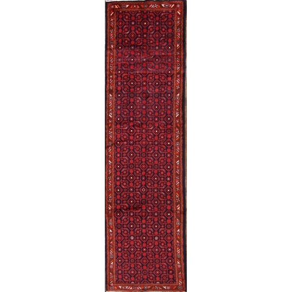 """Oriental Traditional Zanjan Persian Hand Knotted Rug - 13'0"""" x 3'6"""" runner"""