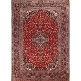 """Kashan Hand Knotted Persian Vintage Area Rug Wool - 13'5"""" x 9'8"""""""