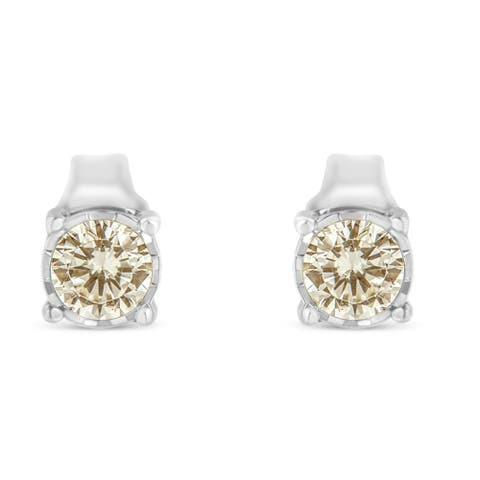 Sterling-Silver 3/8ct TDW Diamond Stud Earring (K-L, I2-I3)