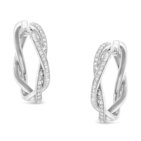 Sterling-Silver 0.75ct TDW Diamond Hoop Earring (I-J, I2-I3)