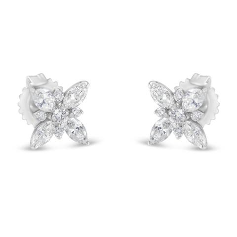 14K White Gold 1.00ct TDW Marquise Diamond Flower Stud Earring (H-I, SI1-SI2) - N/A