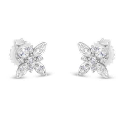 14K White Gold 1.00ct TDW Marquise Diamond Flower Stud Earring (H-I, SI1-SI2) - N/A