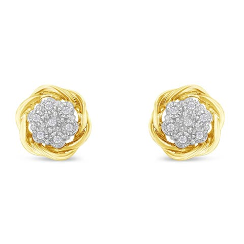 Yellow Gold Plated Sterling Silver 0.15ct TDW Diamond Rose stud Earrings (I-J, I2-I3)