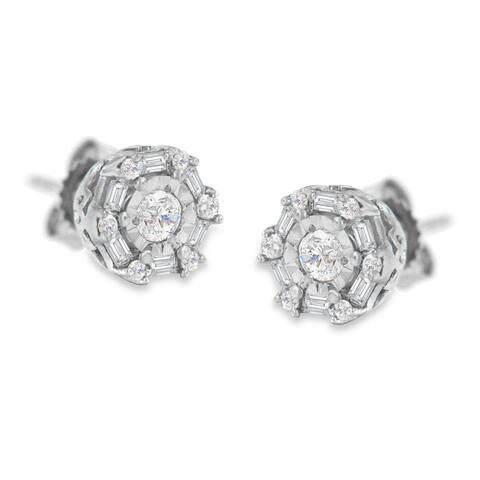 10K White Gold 1/2ct TDW Diamond Stud Earring (I-J, I3)