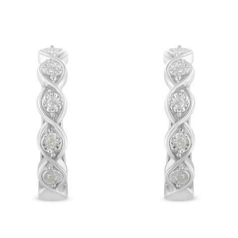 .925 Sterling Silver 1/10ct cttw Miracle-Set Diamond Swirl Hoop Earrings (I-J Color, I3 Clarity)