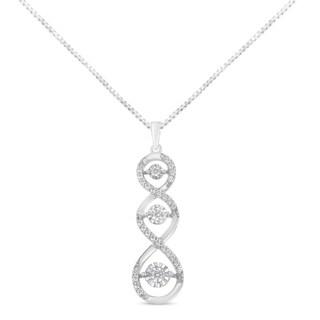 10K White Gold 1 2ct TDW Diamond Twisted Pendant Necklace I J I2 I3