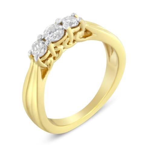 10K Yellow Gold 0.50ct TDW Three-stone Diamond Ring (J-K, I2-I3)