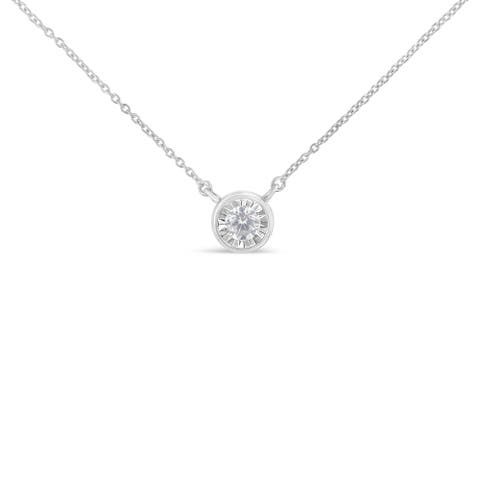 10K White Gold 1/4 ct. TDW Bezel-Set Round Diamond Pendant Necklace (I-J, I2-I3)