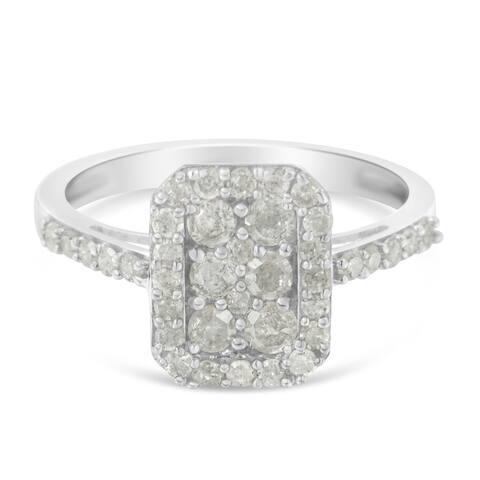 Sterling Silver 1ct. TDW Rose-Cut Diamond Emerald Frame Ring (I-J, I3)