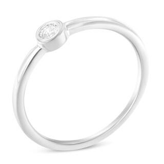 Sterling Silver 0.05ct TDW Diamond Round Shaped Promise Ring.(J-K, I1-I2)