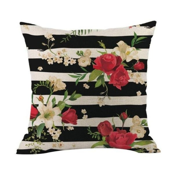 Flower Printed Linen Cotton Pillow Case 21303031-634