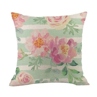 Flower Printed Linen Cotton Pillow Case 21303031-637