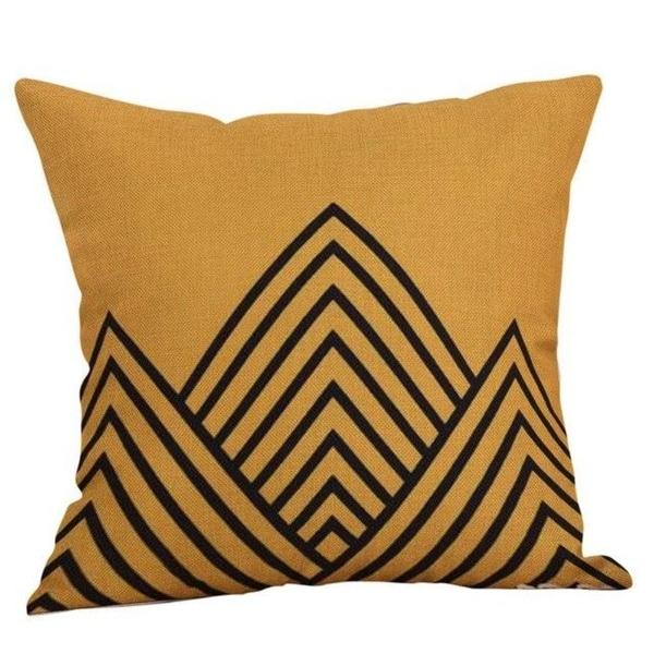 Yellow Geometric Fall Autumn Cushion Cover 21301686-422