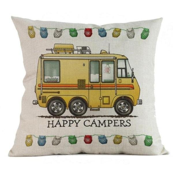 Happy Campers Cotton Linen Pillow Sofa Case 20696418-262