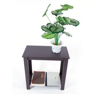 2 Tier Living Room Furniture Wood Sofa Side End Table Brown