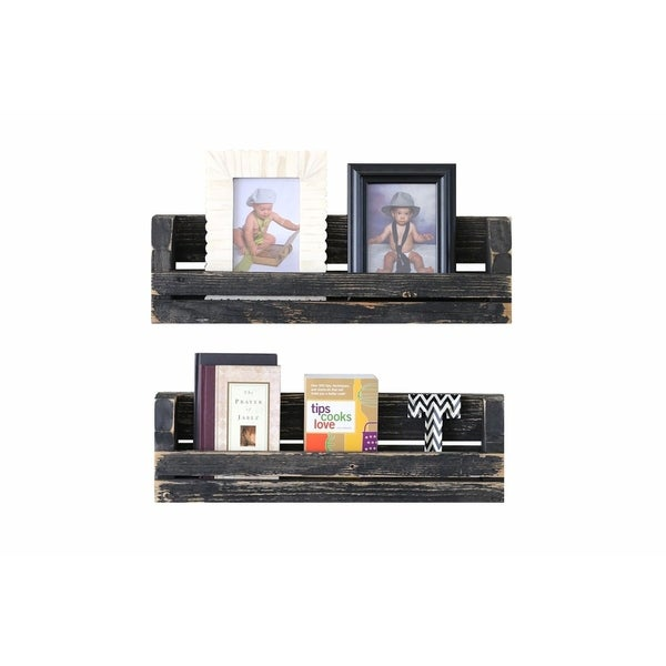 Set of Two Slatted Wall Shelves