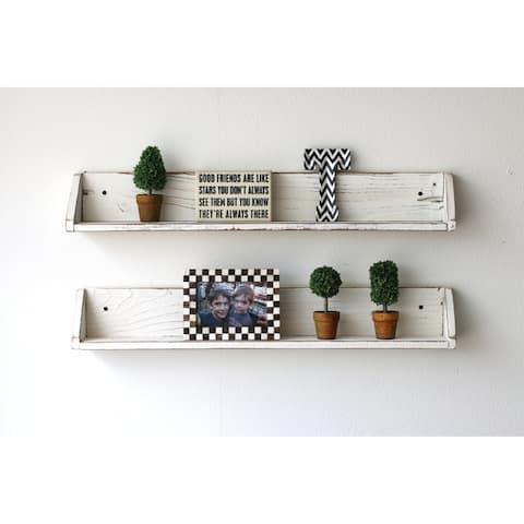 Distressed Reclaimed Wood Floating Shelves (Set of 2) - N/A