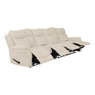 ProLounger 4 Seat Faux Leather Recliner Sofa with Power Storage Console