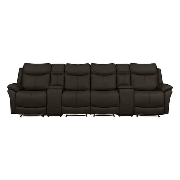 Sensational Shop Copper Grove Peqin 4 Seat Faux Leather Recliner Sofa Frankydiablos Diy Chair Ideas Frankydiabloscom